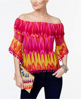 INC International Concepts Petite Printed Off-The-Shoulder Pom-Pom Ruffle Top, Only at Macy's