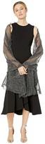 Collection XIIX Shiny Ruffle Edge Wrap (Black) Women's Clothing