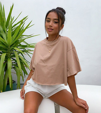 ASOS DESIGN Petite boxy crop t-shirt with raw edge in tan