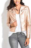 Flesh Faux Leather Mandarin-Collar Moto Jacket