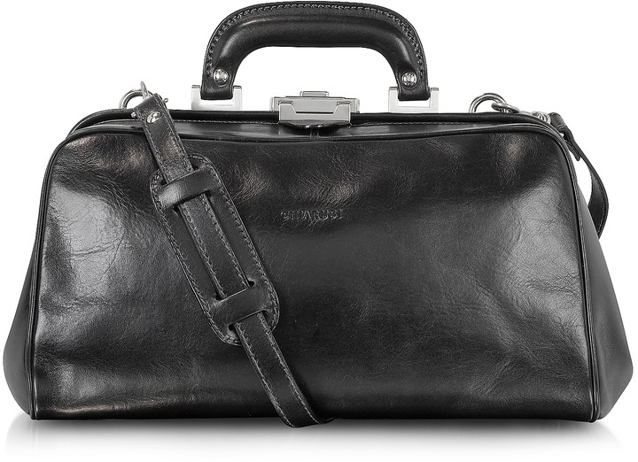 Chiarugi Black Leather Handmade Professional Doctor Bag