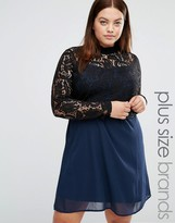 Junarose 2 In 1 High Neck Lace Bodice Swing Dress