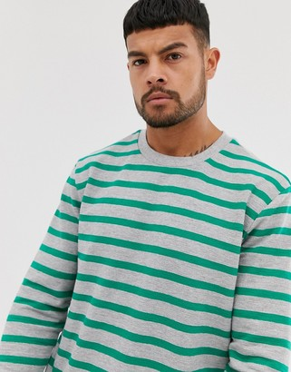 ONLY & SONS long sleeve stripe crew neck top-Gray