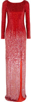 Jenny Packham Sequined Silk-voile Gown - Crimson