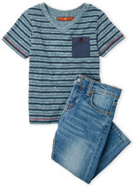 7 For All Mankind Toddler Boys) Two-Piece Blue V-Neck Stripe Tee & Jeans Set