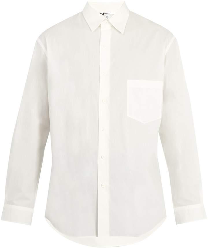 Y-3 Back-print cotton-poplin shirt