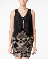 Amy Byer Juniors' Glitter Popover Necklace Dress