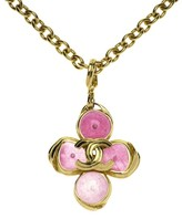 Chanel Pink Clover CC Pendant Necklace