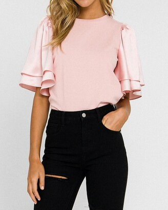 Express English Factory Chiffon Ruffle Sleeve Tee