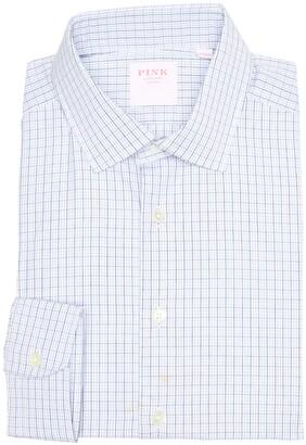Thomas Pink Grid Check Print Long Sleeve Slim Fit Shirt