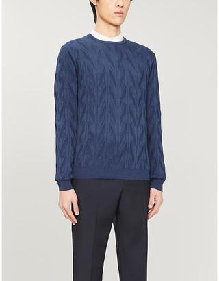 Corneliani Dropped-shoulder crewneck silk and cotton-blend jumper