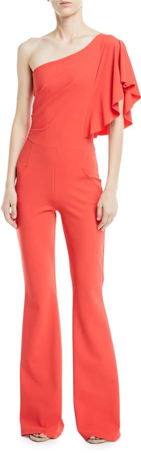 Chiara Boni Sistine One-Shoulder Five-Pocket Jumpsuit