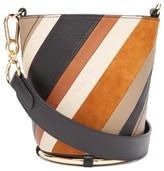 See by Chloe Zelie Striped Leather Bucket Bag - Womens - Brown Multi