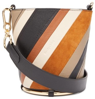 See by Chloe Zelie Striped Leather Bucket Bag - Womens - Brown Multi