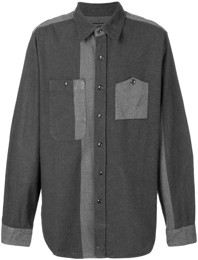 Engineered Garments contrast panel asymmetric pocket shirt