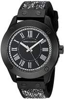 Vince Camuto Women's VC/5259BKBK Swarovski Crystal Fabric and Black Silicone Strap Watch