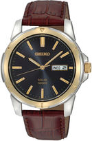 Seiko Mens Brown Leather Strap Solar Watch SNE102