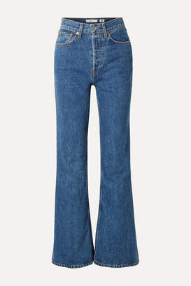 RE/DONE 70s High-rise Flared Jeans - Mid denim