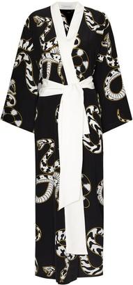 Olivia von Halle Queenie snake-print silk robe