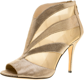 Fendi Metallic Gold Suede and Mesh Peep Toe Ankle Booties Size 38.5