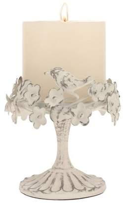 Stonebriar Collection Worn white Ornated Bird and Flower Pillar Holder
