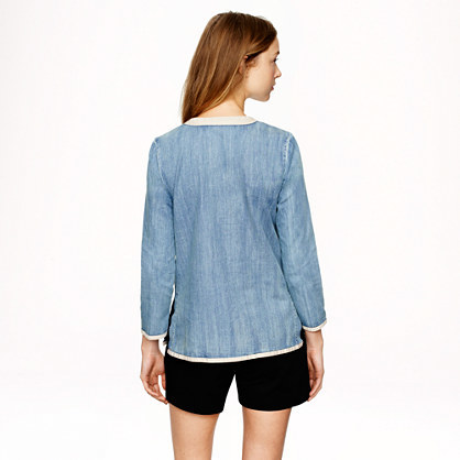 J.Crew Tall embroidered tunic in chambray