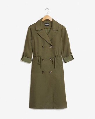 Express Soft Cinched Double Breasted Trench Coat