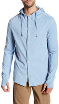 Spenglish Long Sleeve Stretch Button-Down Hoodie