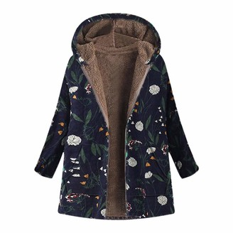 Younthone Womens Winter Warm Outwear Floral Print Hooded Pockets Vintage Oversize Coats Teddy Bear Outwear Long Sleeve Zip Ethnic Style Casual Party Coat Everyday Cotton Coat S-XXXXXL(Navy M)