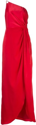 Aidan Mattox One Shoulder Ruched Detail Dress