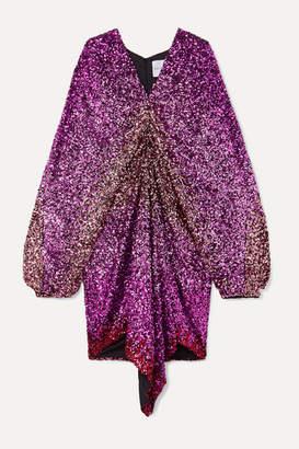 Halpern Draped Degrade Sequined Tulle Dress - Pink