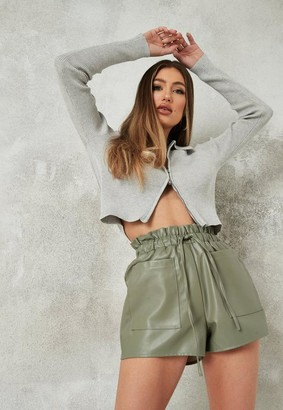 Missguided Faux Leather Elasticated Waist Shorts