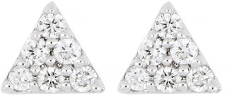 Carriere Sterling Silver Pave Diamond Small Triangle Stud Earrings - 0.09 ctw