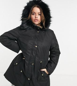 Yours faux-fur hooded parka coat in black