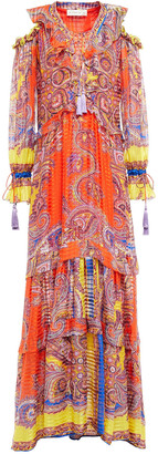 Etro Cold-shoulder Lace-up Silk-jacquard Maxi Dress