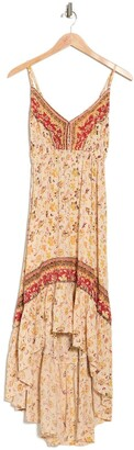 Angie Patterned High/Low Maxi Dress