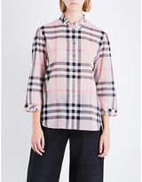 Burberry Ladies Checked Iconic Salla Check-Print Ruffled Cotton Shirt