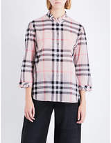 Burberry Salla check-print ruffled cotton shirt