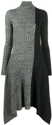 J.W.Anderson Asymmetric Monochrome Block Knit Dress
