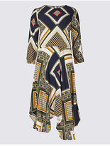 M&S Collection Printed 3/4 Sleeve Skater Midi Dress