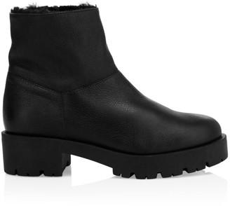 Aquatalia Jayla Faux Fur-Lined Leather Combat Boots