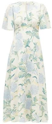 Gardenia Beulah Floral-print Silk-crepe Dress - Womens - Blue Multi