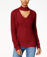 Planet Gold Juniors' Ripped Mock-Neck Cutout Sweater
