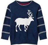Gant Navy Cotton Reindeer Intarsia Jumper