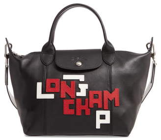 Longchamp Small Le Pliage Logo Leather Tote