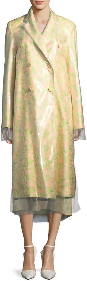 Calvin Klein Floral Jacquard Double-Layer Coat