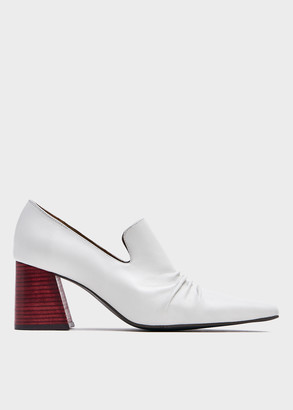 Kim Matin Women's Wooden Heeled Loafer in White, Size 6 | Leather