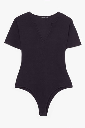 Nasty Gal Womens Sorry Notch Sorry Plus Ribbed Bodysuit - Black - 16