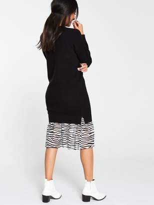 Very 2 In 1 Animal Print Hem Knitted Jumper Dress - Black