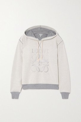Loewe Embroidered Cotton-blend Jersey Hoodie - Gray